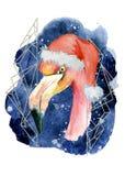 Pink flamingo in Santa hat watercolor hand drawn merry christmas illustration Stock Photo