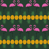 Pink flamingo seamless pattern with pineapples on dark green background. Summer vector background design for textile, web, fabric and decor stock illustration