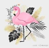 Pink flamingo vector illustration isolated on white background. stock photo