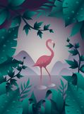 Pink flamingo on the water vector illustration