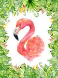 Pink flamingo watercolor hand drawn illustration in arrangement with green tropical plants, exotic monstera and banana leafs. Jungle tree Perfect for greeting Stock Image
