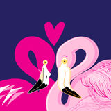 Pink flamingos in love Stock Photo