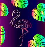 Pink flamingos and tropical leaves Royalty Free Stock Photo