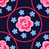 Pink flat rose & forget-me-not centric flowers seamless  Royalty Free Stock Image