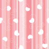 Pink flat striped seamless background with white laced hearts Royalty Free Stock Photography