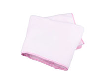 Pink fleece blanket. For baby on white background Royalty Free Stock Photography