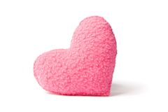 Pink fleece heart. Little pink hand-sewn fleece heart, isolated on white Royalty Free Stock Photos