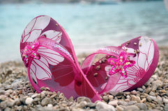 Pink flip flops Stock Photo