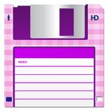 Pink Floppy Disk. Pink disc, isolated on a white background with a label Royalty Free Stock Image