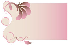 Pink Floral Background. Pink and beige flowers, leaves and swirls trim a gradient beige and pink background Royalty Free Stock Images