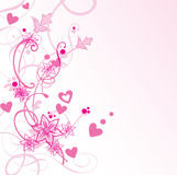 Pink floral background. Valentine card Stock Image