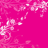 Pink floral background. White and pink floral motives on dark pink background royalty free illustration