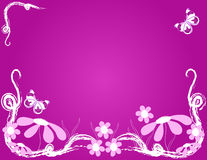 Pink Floral Background. Flowers and butterflie over pink background Stock Photo
