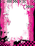 Pink floral background with checkerboard pattern Stock Photo