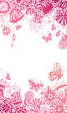 Pink floral background. Ornate floral pattern with butterflies on white background. There is place for your text in the center Royalty Free Stock Photos