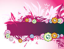 Pink floral banner. Floral banner on the pink background Royalty Free Stock Photo