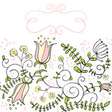 Pink floral border Royalty Free Stock Images