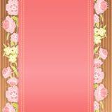 Pink floral border. Pink botanical border with plants Stock Images