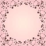 Pink floral border. Pink botanical border with plants Royalty Free Stock Photo