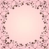 Pink floral border. Pink botanical border with plants Royalty Free Illustration