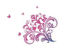 Pink floral with butterfly Stock Photo