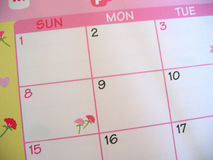Pink Floral Calendar Stock Photos