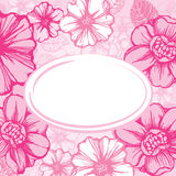 Pink floral card Stock Photo