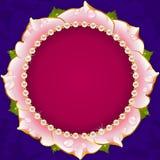 Pink Floral Circle Frame Stock Photo