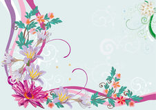 Pink floral corner with lily Royalty Free Stock Photo