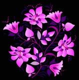 Pink floral decoration on black stock illustration