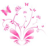 Pink floral design with butterflies. Heart with glossy wings and with floral ornament Royalty Free Stock Image