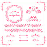 Pink floral element for wedding or birthday Stock Photos