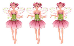 Pink Floral Fairy. Cute cartoon fairy with pink hair in floral dress with wings Stock Photography