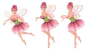Pink Floral Fairy. Cute cartoon fairy with pink hair in floral dress with wings Royalty Free Stock Images