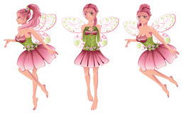 Pink Floral Fairy. Cute cartoon fairy with pink hair in floral dress with wings Royalty Free Stock Photo