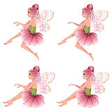 Pink Floral Fairy. Cute cartoon fairy with pink hair in flower dress Royalty Free Stock Photo