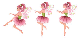 Pink Floral Fairy. Cute cartoon fairy with pink hair in flower dress Royalty Free Stock Photography