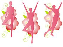 Pink Floral Female Silhouettes Royalty Free Stock Photos