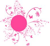 Pink floral frame. Round frame with floral decorative elements Royalty Free Stock Images