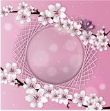 Illustration of an spring frame card with flowers, isolated on white background.Useful also invitation or greeting card. Pink floral frame and banner stock illustration