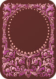 Pink floral frame on brown Stock Photography