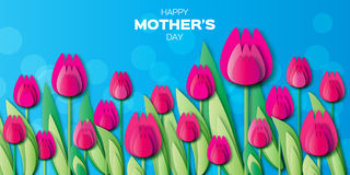 Pink Floral Greeting card - International Happy Mothers Day vector illustration