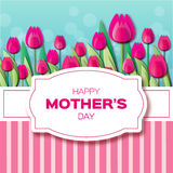 Pink Floral Greeting card - International Happy Mothers Day royalty free illustration