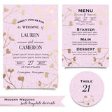 Pink floral invitation card. Set backgrounds for wedding celebration Stock Photography