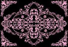 Pink floral ornament with corners. Illustration with pink floral decoration on black background Stock Image