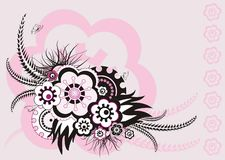 Pink floral ornament, vector illustration. Pink abstract floral ornament - retro style Royalty Free Stock Photography