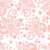 Pink floral ornate pattern on white background Stock Images