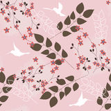 Pink floral pattern. Beautiful pink romantic floral seamless pattern stock illustration