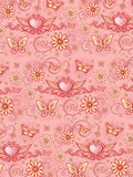 Pink floral pattern. Floral design element with butterfly and drop Royalty Free Stock Photo