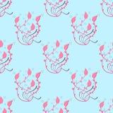 Pink floral pattern on a light blue background Stock Image